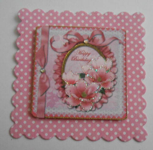 PK 2 HAPPY BIRTHDAY PINK MAGNOLIA EMBELLISHMENT TOPPERS FOR CARDS//CRAFTS