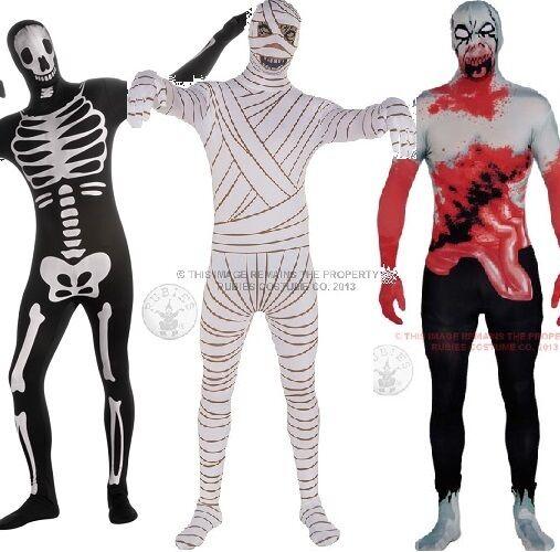 HOMMES HALLOWEEN SQUELETTE ZOMBIE mère 2nd peau combinaison costume déguisement