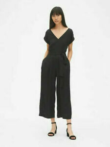 NWT-Misses-Gap-GAP-Kimono-Sleeve-Tie-Belt-Black-Jumpsuit-Pants-Jumper-Size-6