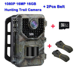16MP-1080P-Hunting-Camera-16GB-Card-2X-Belt-Security-Game-Wild-Trail-Cameras