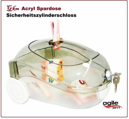 Spardose staubsauger Acryl Love Serie Sparbox Sparbüchse Spendenbox abschließbar