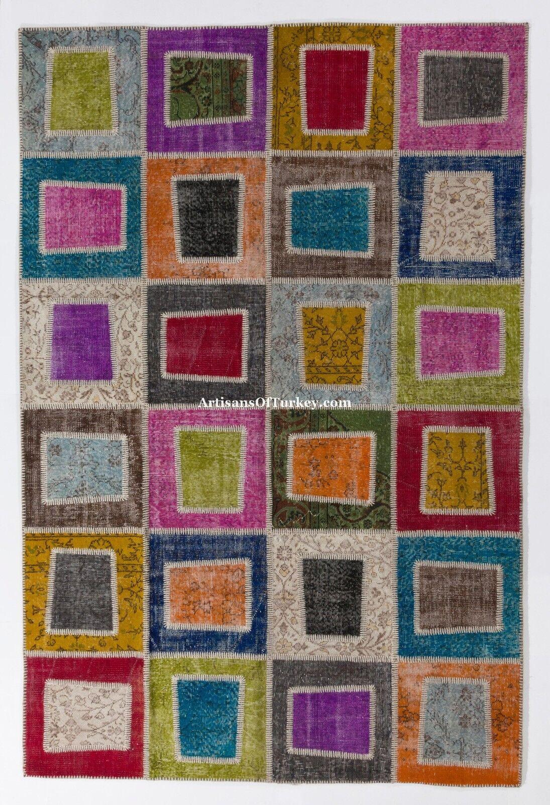 Overdyed Vintage turco Patchwork Alfombra, hecho A Mano, Personalizados, tamaños y Colors en 10day