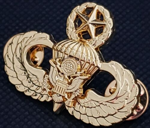Airborne MASTER Jump Wing Badge US Army Eagle Parachute Military GOLD PLATED Pin