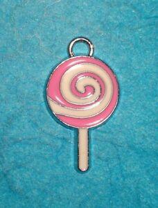 .925 Sterling Silver LOLLIPOP CHARM Sucker Swirl Pop Candy PENDANT