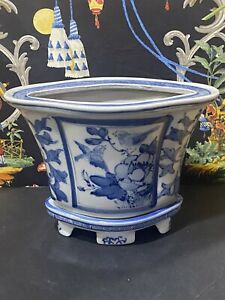 Two Piece Footed Planter CHINESE BLUE & WHITE PORCELAIN  Chinoiserie Flower Pot