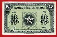 ( Ref: V.423) 10 FRANCS BANQUE D' ÉTAT DU MAROC 1/08/1943 (SPL+)