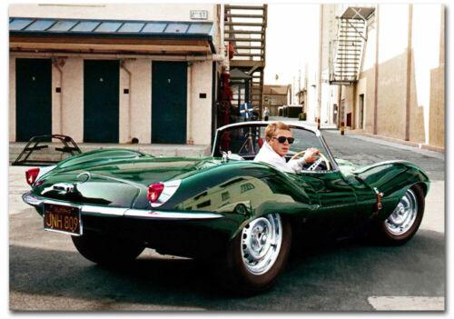 "Steve McQueen and green Jaguar XKSS Refrigerator Magnets Size 2.5/"" x 3.5/"""