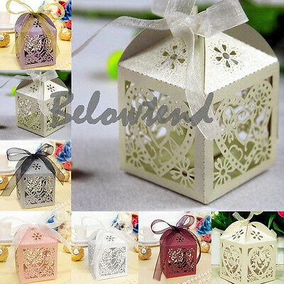 10/50/100pcs Love Heart Laser Cut Gift Candy Boxes Wedding Party Favor Ribbon