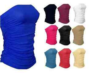 Womens-Ladies-Sleeveless-Boobtube-Bandeau-Strapless-Ruched-Vest-Top-Plus-Size