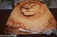 ☀️korean Mink King 2 Ply Reversible Blanket Soft Plush Beach Throw Tiger Lion