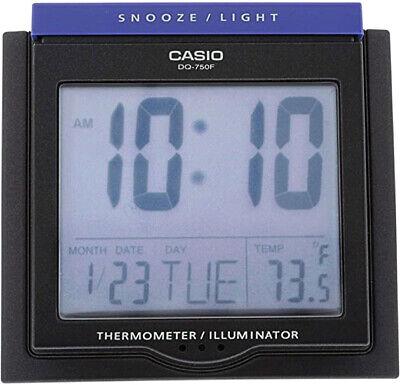 Casio DQ750F-7D White LED Light Digital Alarm Desk Clock Thermometer Snooze NEW