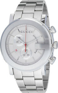 Gucci-G-Chrono-Chronograph-White-Dial-Stainless-Steel-YA101339-Men-039-s-Watch
