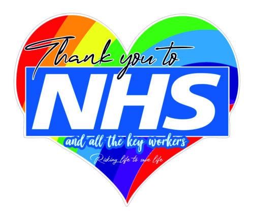 Rainbow Thanks heart NHS,Binman,Police,Delivery Large Window,Bin Vinyl Sticker