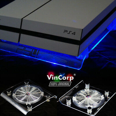 VINCORP ® USB Design Kühler Lüfter Blau Playstation 3 4 PS4 PS3 Slim Pro Stand