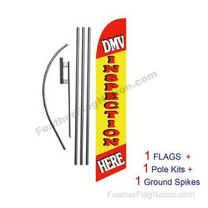 DMV Inspection Here 15' Feather Banner Swooper Flag Kit with pole+spike