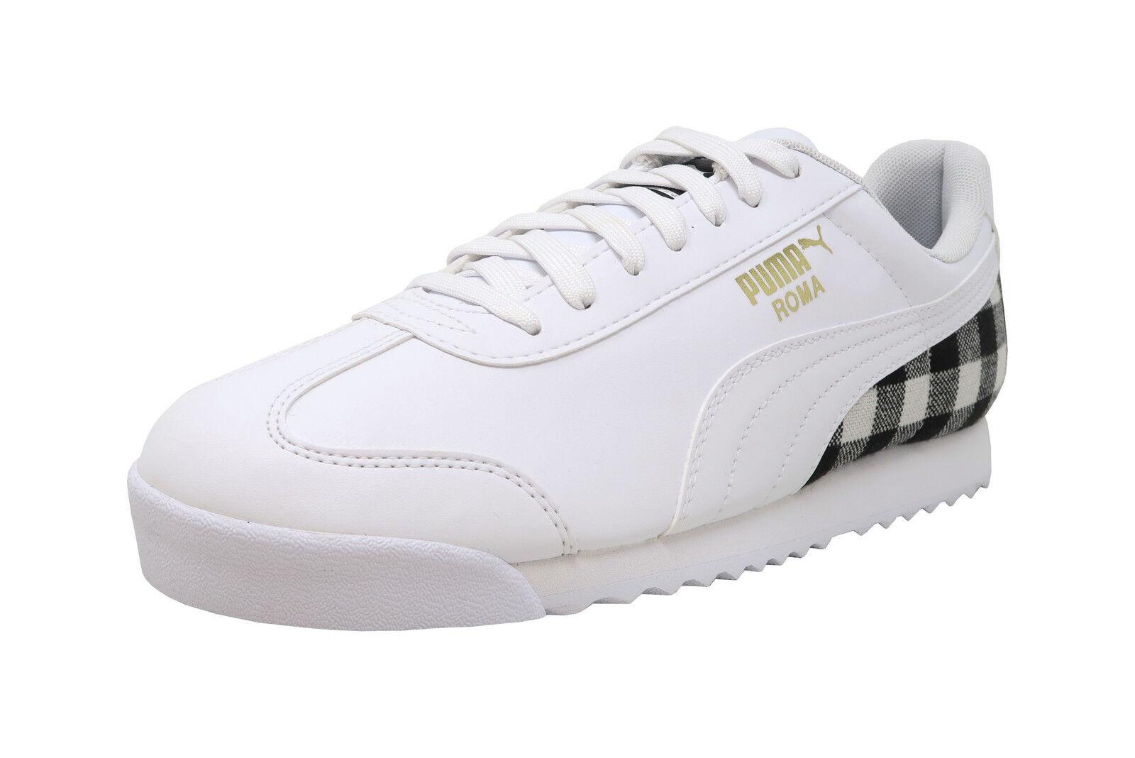 PUMA Roma LTHR Flannel White Black Plaid Lace Up Sneaker Adult Fashion Men shoes