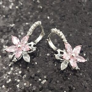 18K-White-Gold-Filled-Elegant-Italian-Pink-Diamond-18ct-GF-Huggie-Earrings-20mm