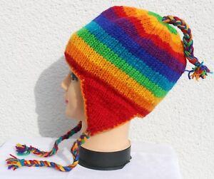 Modern und elegant in der Mode Beste günstig Details zu Strickmütze Ohrenklappen Mütze Gr. S/M, L, XL Schafwolle  Regenbogen Wintermütze