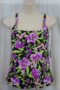 Island Escape Tankin Top Sz 6 Purple Multi Floral Print Swimsuit P760618