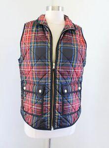 J Crew Primaloft Stewart Tartan Plaid Excursion Vest Size S Black Red Green