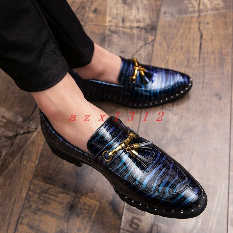 Men Round Toe Slip On Casual shoes Loafer Flat Gommin Tassel British Dress Club