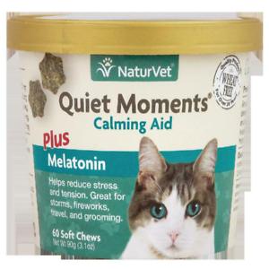 NaturVet Quiet Moments Calming Aid Plus Melatonin for Cats, 60 Soft Chews