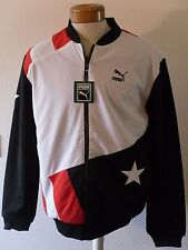 NWT Puma Football 2-in-1 Varsity Bomber Jacket M Black/White/Red MSRP$140