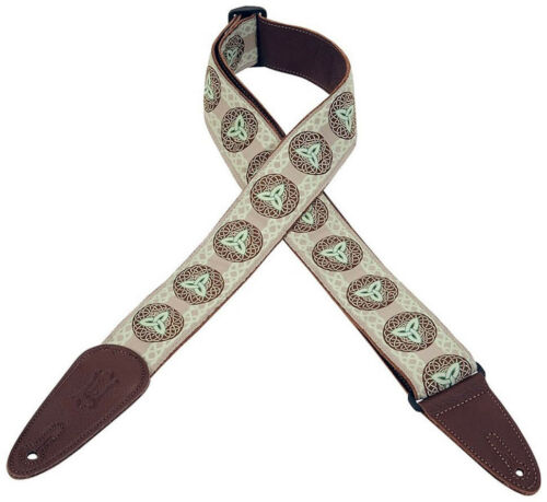 Levy/'s Woven Design//Leather Backing Guitar//Bass Strap Triquetra Celtic Mint