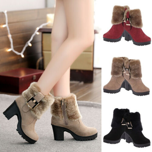 Women Warm Faux Fur Chunky Ankle Boots High Block Heel Buckle Zip Up Plush Shoes