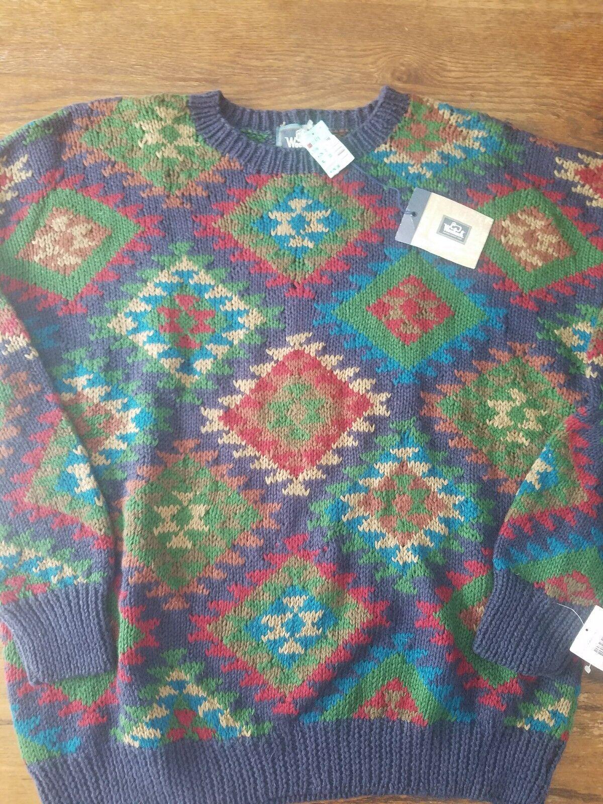 NWT Woolrich Wool/Ramie Fair Isle Christmas Sweater  Herren XL Handknit NEW