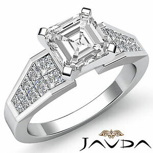 Ideal-Asscher-Diamante-Invisible-Anillo-de-Compromiso-GIA-F-VS2-14k-Oro-Blanco