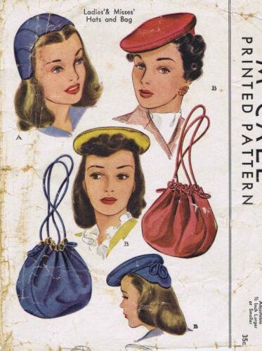 R590 1944 Vintage Sewing Pattern S22 HATS /& BAG