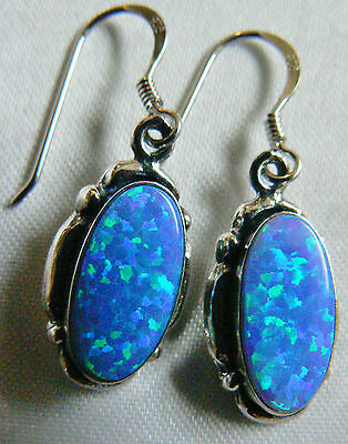 Sterling Silver 925 Blue Oval Opal Charming Dangle Earrings New Free shipping