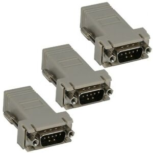 2x 9-Pin DB9 RS232 Male to RJ45 8P8C Female Network Jack Modular Adapter Ivory