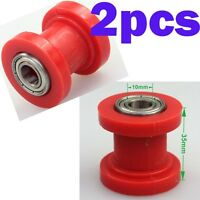 2pcs Pit Bike 10mm Chain Roller Red For 110cc 125cc 140cc Dirt Bike