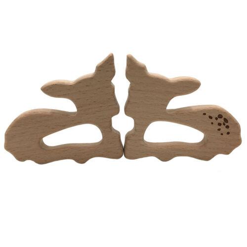 Wooden Organic Teether Deer Shaped Teething Nursing Hand Grasp Chew Toy Z