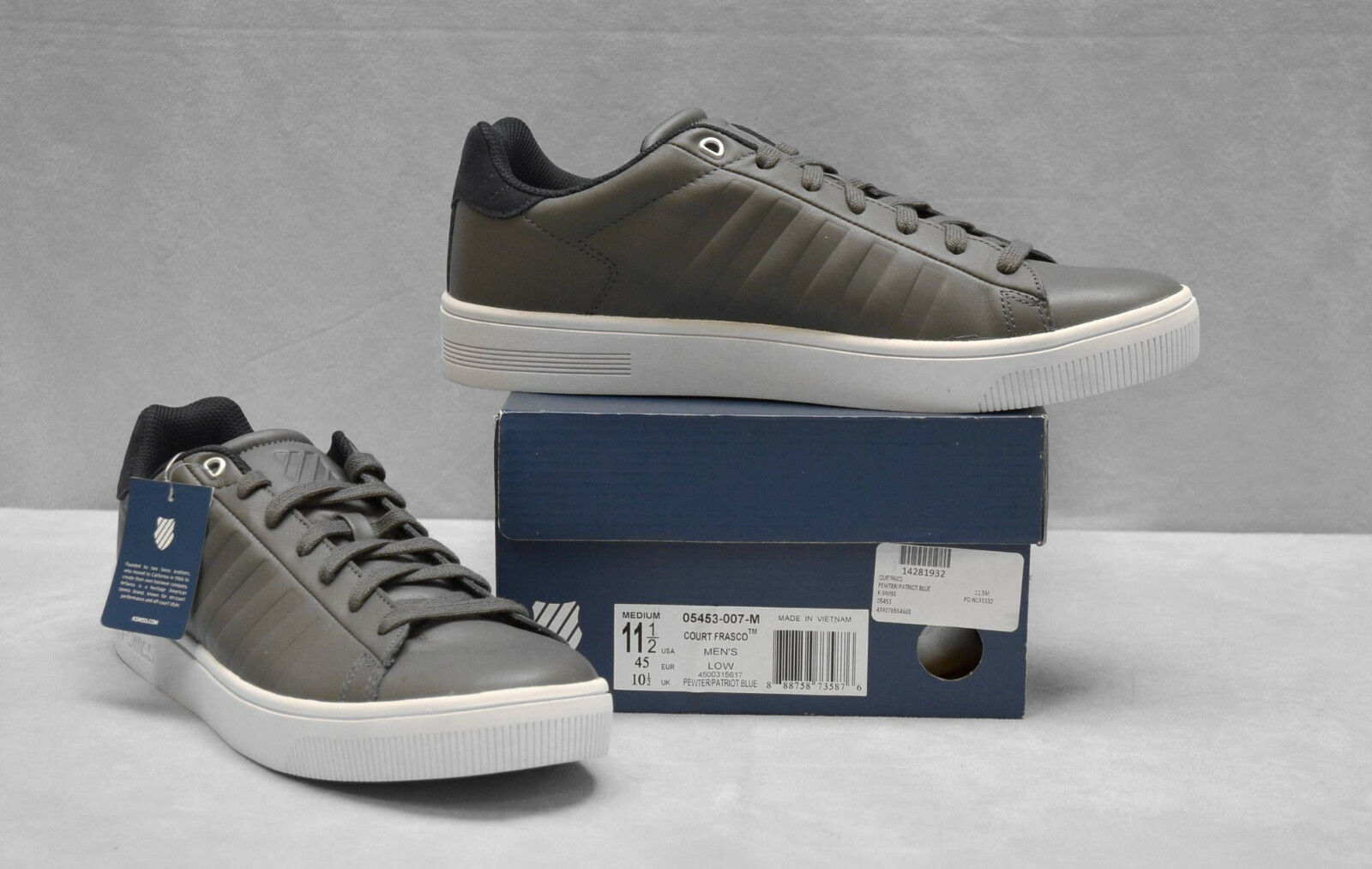 B2 NEW K-SWISS Court Frasco Pewter/Patriot Blue Low Top  Shoes Sz US 11.5