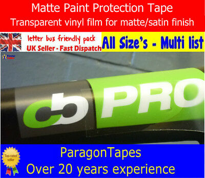 *ALL SIZES* CLEAR MATTE PPF Bike Frame Car Paint Protection Film Helicopter Tape