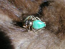 LUCKY IMPERIAL APPLE GREEN JADE 14K GOLD INSECT BEETLE SCARAB TIE TAC LAPEL PIN