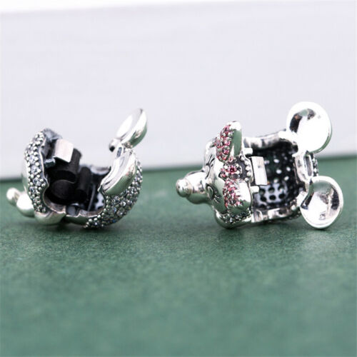 Authentic 925 Sterling Silver Shimmering Mickey /& Minnie Portrait CZ Clip Charm