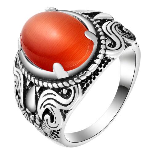 Magnifique Vintage silver fire red Cat/'s Eye Gemstone Ring pour mère