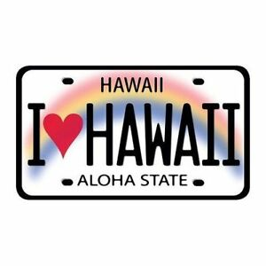 I Love Hawaii Premium License Plate Vinyl Sticker Decal
