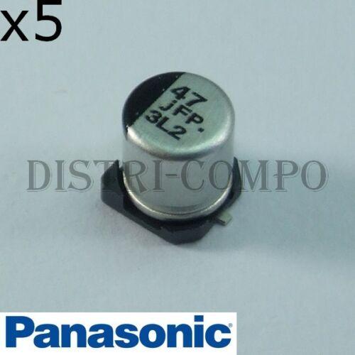 lot de 5 Condensateur 6V3 47µF 105° SMD Panasonic FP-V 5.8x5mm