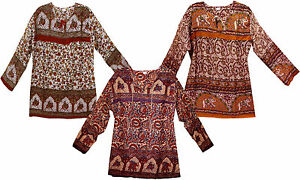 LOT-3pc-GBP21-99-Hippie-VINTAGE-LOOK-Gypsy-Indian-cotton-blouse-Top-blusa-ETHNIC