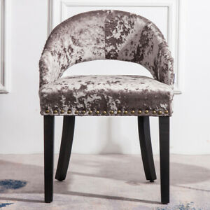Details about Silver Grey Crushed Velvet Pouffe Stool Makeup Dressing Table  Stool Vanity Chair