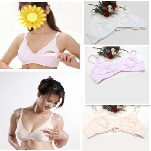 Soft Cotton Nursing Maternity  Wire Free Breastfeeding Bra Front Open