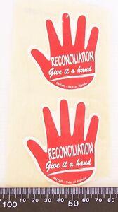 2x-RARE-VINTAGE-RECONCILIATION-GIVE-IT-A-HAND-ABORIGINAL-AUSTRALIA-ANTAR-STICKER