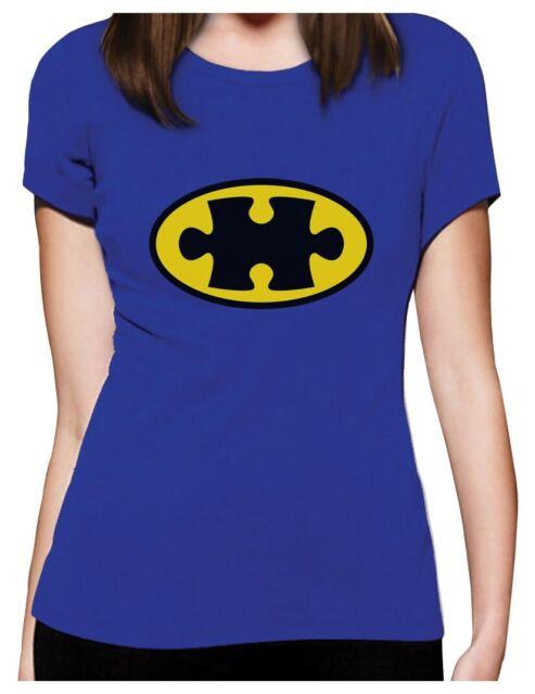 Autism Awareness SuperHero Puzzle Logo Women T-Shirt Support The Cause