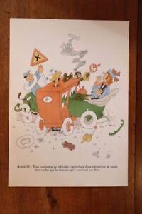 1955 Albert Dubout Gravure Couleurs Code De La Route à Encadrer Décoration N°9