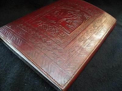 Celtic TREE of LIFE large Leather Photo Album  - Pages of Black Handmade Paper